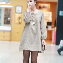 NZC021 Korean women long-sleeved cotton dress big yards loose maternity dress