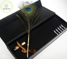 Fancy peacock Natural Ostrich Feather Quill Pen/Best Wedding Gift Feather Fountain Pen Set