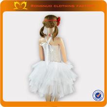 2014 new design lovely girls' dresses for summer kids clothing plain white baby dress