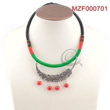 Beautiful feather chinese national style necklace as present