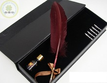 High quality Natural Ostrich Feather Quill Pen/Best Wedding Gift Feather Fountain Pen Set