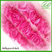 Pink Chiffon Lace Chiffon Trim Chiffon Flower lace for Women baby girls Hair Clip, Hair Accessories Clothing Trim