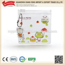 Ball chain handle zipper clear pvc bag