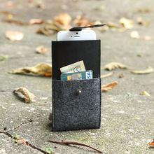 handmade Wool Felt case with leather Strap,wallet leather case for iphone 6 and iphone 6 plus,western leather cell phone case