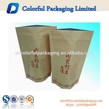 high grade Oval 250g ,500g window brown standy Kraft paper bag , zip tea bag