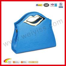 Crocodile leather handbag with silver mouth handle royal blue gift bags