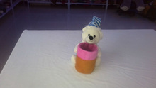 20cm promotional customized stuffed white plush christmas bear animal toy with striped hat&pen container(holder)