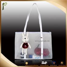 Popwide newest 2014 Mesh Beach Bag/plastic tote bag with zipper
