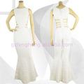 مصنع قوانغتشو قصها طويل مثير فستان كوكتيل مساء اللباس الأبيض الشيفون