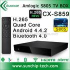Sunchip Amlogic S805 Quad core android 4.4.2 tv box support bluetooth 4.0, XBMC, 1G+8G, Hotspot H.265 Amlogic android TV box