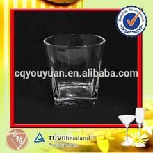 Unique round glassware manufacture with square bottom