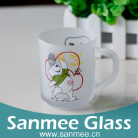 Bear Cartoon Decoration Frosted Glass Mug For Coffee