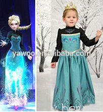 Real Picture Frozen Dresses Long Cloak Girls Party Wear Frozen Movie Costumes Elsa Dresses Anna Dress Cosplay Costume in Frozen