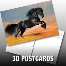 3d postcard hot picture lenticular printing PET/PP holiday gift hot-sale customized black horse