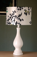 Hot sale European style elegant warm white ceramic Table Lamp/led table light with fabric lampshade for inn/house/hotel