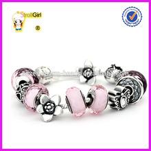Charm Bracelet Murano Pink Love Charm Bracelets