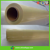 FLY hot sales glossy cold lamination PVC soft transparent film, yellow paper with green lines