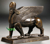 Bronze flying lion with human face statue