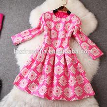 2014 O-Neck Long Sleeve High Quality Tencel Spandex Simple Design Womens Plain Dress