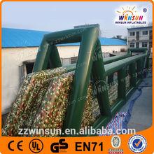 EN14960 extrem sports commercial grade inflatable zip line, inflatable zip line with obstacle for sale