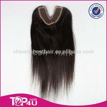 Hot sale 100% virgin human hair indian remy hair v shape lace closure