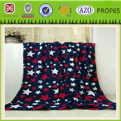 Five-point star printed flannel fleece blanket