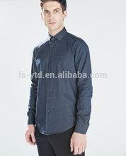 Camisa de algodão para mangas compridas denim shirt