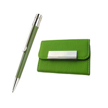 Green Color Metal Fashion Pen With Name Card Holer