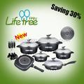 Ceramic coated cookware set with energy saving bottom