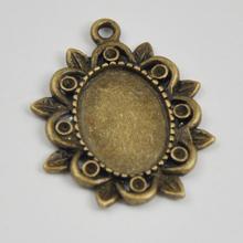 2014 wholesale Antique Bronze Zinc Alloy Cabochon Bezel pendant blank setting 21*25mm A12090