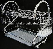 Kitchen accessories storage holders & racks double layer metal dish rack multifunctional organizer shelves tableware drainer