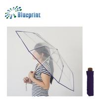Nice Lady Rain And Snow See-Through 3 Folding POE Umbrella