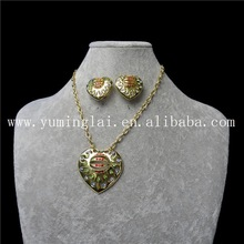 friendship heart necklace and bead earring sets