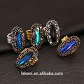 Exquisito nupcial estilo tribu anillos de cristal de lujo para mujer y hombre