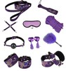 High Quality Butterfly Bondage Set Kit 10pc Mask Rope Cuffs Collar Hogtie Mouth Ball Pasties Paddle Tickler