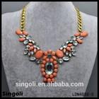 Vintage brass coral eagle shape crystal necklace