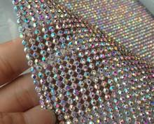 Hotfix 2mm AB color crystal Diamante Rhinestone Mesh,iron on Rhinestone Trimming 35*120cm/roll