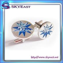 High Quality Shiny Silver Epoxy Enamel Pattern Metal Cuff Links