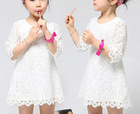 New 2015 spring summer children kids lace girls dresses child baby princess solid party casual girl dress