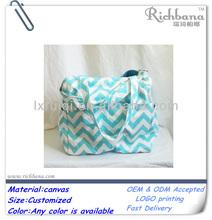 fashion cheap durable canvas chevron wholesale diaper bags