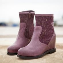 handwork women carved dark pink boots