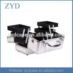 White personalized portable aluminium beauty case with trays, ZYD-MC963
