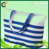 2014 reusable fashion blue white striped beach bag