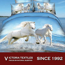 100% cotton 3d reactive printed twill bed comforter cover set all sizes horse print