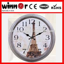 16 inch Plastic big round antique Paris' Eiffel Tower souvenirs wall clock,quartz wall clock