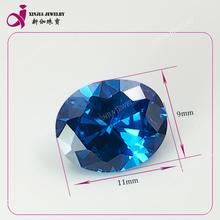Blue oval 9x11mm synthetic cz stones loose gemstone semi jewelry zircone