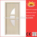 Pvc folheado meia lua de vidro da porta de madeira sc-p082