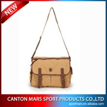 21-B4 Khaki Leather Canvas Mens Messenger Bags for Men