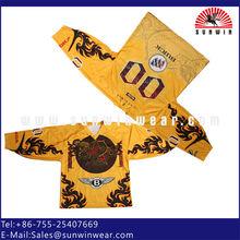 Custom yellow ice hockey jersey ,quick dry ice hockey tops