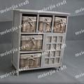 Rustique. 5 en osier panier 1 porte en bois massif naturel salon armoire de rangement